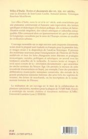 Villes D Italie Textes Et Documents Des Xii - Xiv Siecles T15 - 4ème de couverture - Format classique