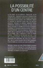 La possibilité d'un centre ; stratégies de campagne de françois bayrou - 4ème de couverture - Format classique