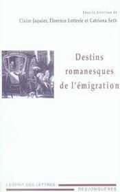 Destins romanesques de l'émigration - Intérieur - Format classique