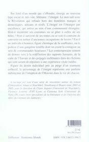 Destins romanesques de l'émigration - 4ème de couverture - Format classique