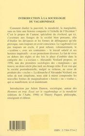 Introduction A La Sociologie (Vexliard) Du Vagabondage - 4ème de couverture - Format classique