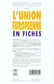 L'Union Europeenne En Fiches - 4ème de couverture - Format classique