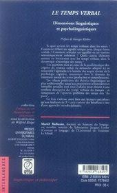Le temps verbal ; dimensions linguistiques et psycholinguistiques - 4ème de couverture - Format classique