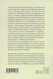 La Critique En Design - Contribution A Une Anthologie - 4ème de couverture - Format classique