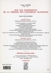 Sur les fondements de la théorie des ensembles transfinis - 4ème de couverture - Format classique