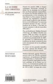 La guerre des droites ; de l'affaire Dreyfus à nos jours - 4ème de couverture - Format classique