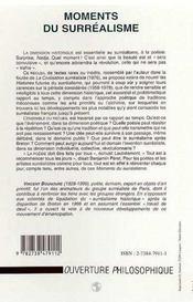 Moments Du Surrealisme - 4ème de couverture - Format classique