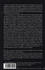Paris 1961 - 4ème de couverture - Format classique