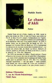 Le Chant D'Akli - 4ème de couverture - Format classique