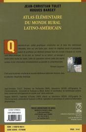 Atlas élémentaire du monde rural latino-américain - 4ème de couverture - Format classique