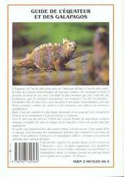 L'Equateur Et Les Galapagos (Guide) - 4ème de couverture - Format classique