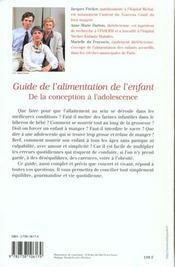 Le Guide De L'Alimentation De L'Enfant - 4ème de couverture - Format classique