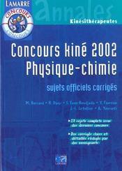 Concours Kine 2002 Physique Chimie - Intérieur - Format classique