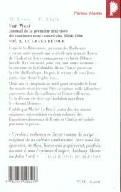 Far west t.2 ; le grand retour ; journal de la première traversée du continent nord américain (1804-1806) - 4ème de couverture - Format classique