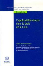 Applicabilite Directe Dans Le Droit De La Cee (L') - Intérieur - Format classique