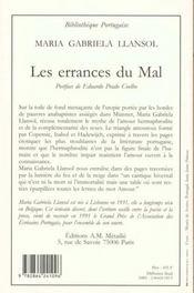 Errances Du Mal (Les) - 4ème de couverture - Format classique