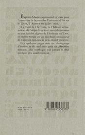 Esquisse discours sur le livre - 4ème de couverture - Format classique