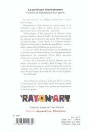 La Peinture Monochrome ; Histoire Et Archeologie D'Un Genre - 4ème de couverture - Format classique