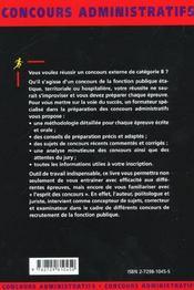 Les Concours De Categorie B Fonction Publique Concours Administratifs Presentation Methodologie - 4ème de couverture - Format classique
