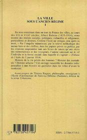 La Ville Sous L'Ancien Regime T.1 - 4ème de couverture - Format classique