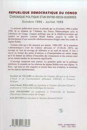 République démocratique du Congo ; chronique politique d'un-entre-deux-guerres (octobre 1996-juillet 1998) - Couverture - Format classique