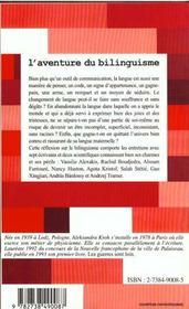 L'Aventure Du Bilinguisme - 4ème de couverture - Format classique