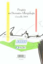 Progres En Dermato-Allergologie Grenoble2005 Tome 11 - 4ème de couverture - Format classique