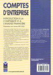 Comptes d'entreprises - 4ème de couverture - Format classique