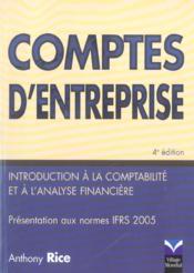 Comptes d'entreprises - Couverture - Format classique