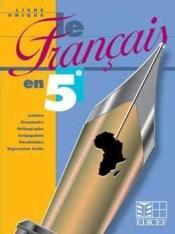 Le Francais En 5e - Livre Unique - Couverture - Format classique
