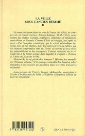 La Ville Sous L'Ancien Regime T.2 - 4ème de couverture - Format classique