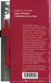 Ingmar Bergman ; L'Initiation D'Un Artiste - 4ème de couverture - Format classique