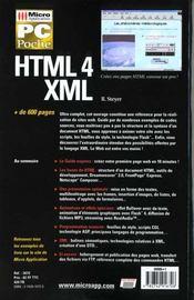 Pc poche html4 - xml - 4ème de couverture - Format classique