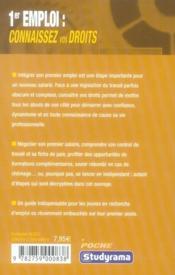 Premier emploi ; connaissez vos droits - 4ème de couverture - Format classique