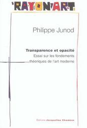 Transparence Et Opacite ; Essai Sur Les Fondements Theoriques De L'Art Moderne - Intérieur - Format classique