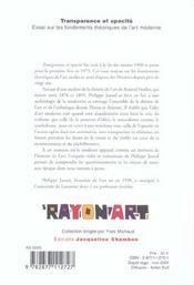 Transparence Et Opacite ; Essai Sur Les Fondements Theoriques De L'Art Moderne - 4ème de couverture - Format classique