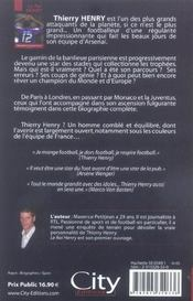 Thierry Henry - 4ème de couverture - Format classique