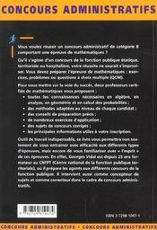Les Epreuves De Mathematiques Categorie B Concours Externes Et Internes Concours Administratifs - 4ème de couverture - Format classique