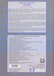 Autistic spectrum disorders - 4ème de couverture - Format classique