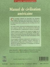 Manuel de civilisation americaine - 4ème de couverture - Format classique