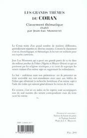 Coran, Les Grands Themes - 4ème de couverture - Format classique