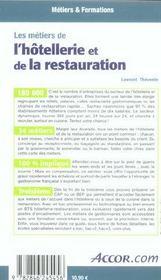 Les métiers de l'hôtellerie et de la restauration - 4ème de couverture - Format classique