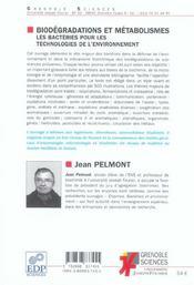 Biodégradations et métabolismes ; les bactéries pour les technologies de l'environnement - 4ème de couverture - Format classique