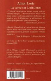 La Vérité Sur Lorin Jones - 4ème de couverture - Format classique