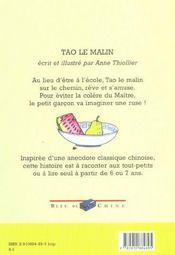 Tao Le Malin - 4ème de couverture - Format classique