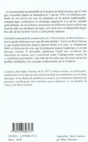 Dictionnaire De Rene Guenon - 4ème de couverture - Format classique