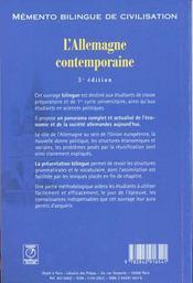 L'allemagne contemporaine - 4ème de couverture - Format classique