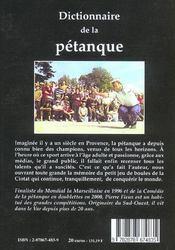 Dictionnaire De La Petanque - 4ème de couverture - Format classique