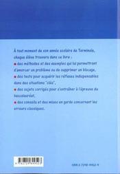 Mathematiques Terminale Es Methodes Exemples Tests Sujets Corriges Plus De 150 Methodes Et Exemples - 4ème de couverture - Format classique