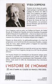 L'histoire de l'homme ; 22 ans d'amphi au Collège de France (1983-2005) - 4ème de couverture - Format classique